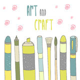 Cute hand drawn doodle postcard with art supplies. Royalty Free Stock Images