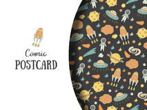 Cute hand drawn doodle postcard, card with cosmic objects Stock Photo