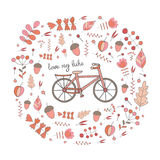Cute hand drawn doodle postcard, card, cover with bike. Royalty Free Stock Image