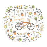 Cute hand drawn doodle postcard, card, cover with bike. Stock Photography