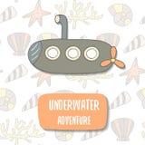Cute hand drawn doodle postcard with cartoon submarine Royalty Free Stock Photos