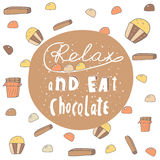 Cute hand drawn doodle postcard with chocolate banner. Royalty Free Stock Photos