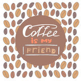 Cute hand drawn doodle postcard with coffee beans. Royalty Free Stock Photos