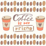 Cute hand drawn doodle postcard with cup of coffee Royalty Free Stock Images