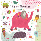 Cute hand drawn doodle postcard with elephant Stock Photography