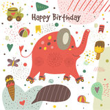 Cute hand drawn doodle postcard with elephant Royalty Free Stock Photos