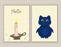 Cute hand drawn doodle postcards with candle, owl . Printable templates set Royalty Free Stock Photography