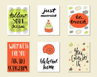 Cute hand drawn doodle postcards, cards Royalty Free Stock Photos