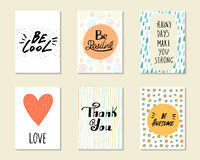 Cute hand drawn doodle postcards, cards, covers Stock Photo