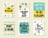 Cute hand drawn doodle postcards Stock Images