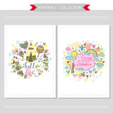 Cute hand drawn doodle postcards Royalty Free Stock Photography