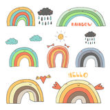 Cute hand drawn doodle rainbow collection. Including rainbow with clouds, sun, heart, rainy cloud, girly bows, funny wings, sad rainbow. Rainbow, weather, icon Royalty Free Stock Photography