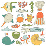 Cute hand drawn doodle sea animals collection Stock Photos