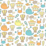 Cute hand drawn doodle sea seamless pattern Royalty Free Stock Photo