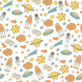 Cute hand drawn doodle seamless pattern with cosmic objects Royalty Free Stock Image