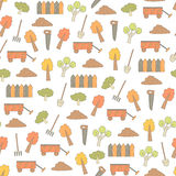 Cute hand drawn doodle seamless pattern with farm objects Royalty Free Stock Images