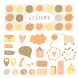 Cute hand drawn doodle signs, objects, banners Stock Photos