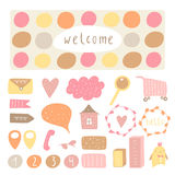 Cute hand drawn doodle signs, objects, banners, design elements Stock Photography