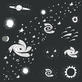 Cute hand drawn doodle space, cosmos objects Royalty Free Stock Photos