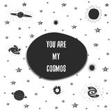 Cute hand drawn doodle space postcard vector illustration