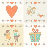 Cute hand drawn doodle st valentines day postcards, cards collection Royalty Free Stock Photo