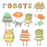 Cute hand drawn doodle steam punk robots collection. Stock Image