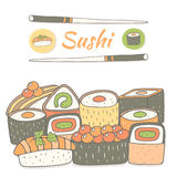 Cute hand drawn doodle sushi collection. Royalty Free Stock Photos