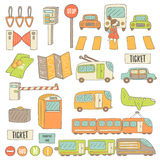 Cute hand drawn doodle transport objects collection Stock Photography