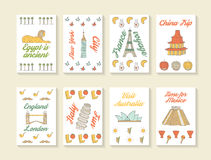 Cute hand drawn doodle travel cards Stock Images
