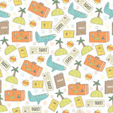 Cute hand drawn doodle travel seamless pattern Stock Photography