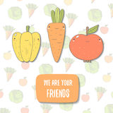 Cute hand drawn doodle vegetarian postcard. With pepper, apple, carrot, cabbage and text space. Food, vegetable background, cover, card Stock Photography