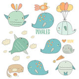 Cute hand drawn doodle whales collection Stock Photos
