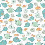Cute hand drawn doodle whales seamless pattern Royalty Free Stock Photography