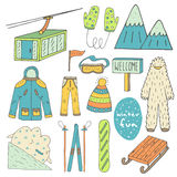 Cute hand drawn doodle winter sport objects collection Royalty Free Stock Photography