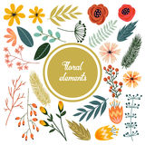 Cute hand drawn doodles floral isolated elements, set of retro flowers, branch and leaf Royalty Free Stock Photography