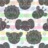 Cute hand drawn doodles funny African animals. Seamless pattern.  Stock Image