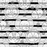 Cute hand drawn doodles funny African animals. Seamless pattern.  Royalty Free Stock Image