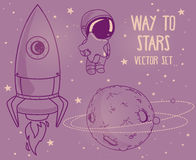 Cute hand drawn elements for cosmic design Royalty Free Stock Photo