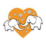Cute hand drawn elephants. Monochrome Vector image. stock illustration