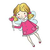 Cute hand drawn fairy with magic wand. Cute hand drawn fairy with magic wand isolated on white background. Vector illustration. Can be used for print design or Royalty Free Stock Photo