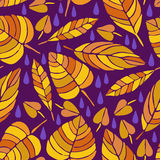 Cute hand drawn fall Leaves ornament. Colorful Vector seamless pattern. vector illustration