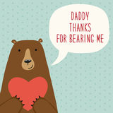 Cute hand drawn Father`s Day card as funny cartoon character of bear Royalty Free Stock Photo