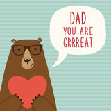 Cute hand drawn Father`s Day card as funny cartoon character of bear Stock Photos