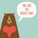 Cute hand drawn Father`s Day card as funny cartoon character of bear Stock Image