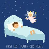 Cute hand drawn First Lost Tooth Certificate as sleeping kid and funny smiling cartoon character of tooth fairy. For your decoration Royalty Free Stock Photo