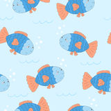Cute hand drawn fish under water. vector pattern.  Royalty Free Stock Images