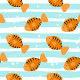Cute hand drawn fish under water. vector pattern.  Royalty Free Stock Photos