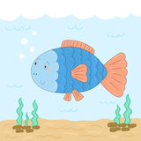 Cute hand drawn fish under water. vector print.  Stock Photos