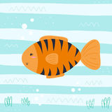 Cute hand drawn fish under water. vector print.  Royalty Free Stock Image