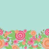 Cute hand drawn floral border. Decorative hand-drawn floral border. Can be used for invitation card, template design for card, as background Stock Photo